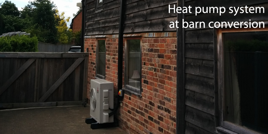 Heat pump system at barn conversion