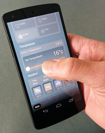 Wifi controlled air conditioning on smartphone